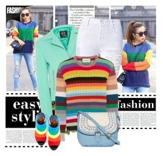 """""""Rainbow style"""" by eldin271 ❤ liked on Polyvore featuring moda, McQ by Alexander McQueen, Aquazzura, Gucci, T-shirt & Jeans, women's clothing, women's fashion, women, female y woman"""