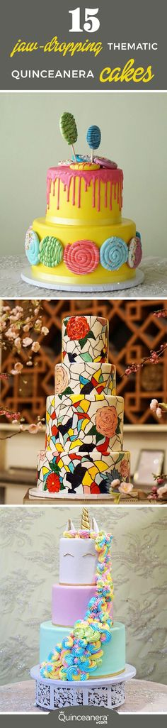Based on the current Quince trends, here are the top 15 thematic cakes: http://www.quinceanera.com/food/15-jaw-dropping-thematic-quinceanera-cakes/