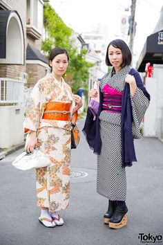 Young Japanese women mixing old and new fashion on the street in Harajuku - including kimono, traditional sandals from Tokyo135°, and Jeffrey Campbell skate booties.