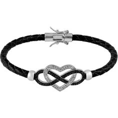 Jewel Exclusive Sterling Silver  Diamond Leather Braid Heart w/ Black... ($60) ❤ liked on Polyvore featuring jewelry, bracelets, accessories, black, pulseira, multi, heart jewelry, infinity bangle bracelet, sterling silver bangles and hinged bracelet