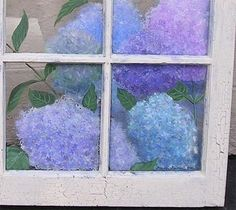 Hand Painted Hydrangeas and Butterfly on an Vinatge 6 Pane Window - Crackle Finish