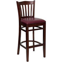 Flash Furniture HERCULES Series Mahogany Finished Vertical Slat Back Wooden Restaurant Barstool - Burgundy Vinyl Seat [XU-DGW0008BARVRT-MAH-BURV-GG]