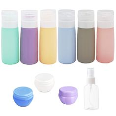 Perfect Silicone Travel Containers: 10 pcs leak proof travel shampoo bottle set, portable & lightweight, easy to carry & clean. You will get: 6 Pcs Silicone TSA Approved Toiletry Bottles[3oz ] + 3 Pcs Cream Boxes(10g) +1 Pcs Travel spray bottle(30ml, the colors of fine mist sprayers may be varied ), Perfect for your personal travel or business trip. Big Bottle, Spray Bottle, Cosmo Martini, Travel Size Toiletries, Travel Size Bottles, Cosmetic Containers, Starbucks Mugs, Bottle Design, Travel Size Products
