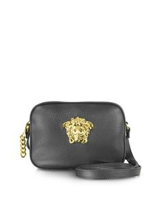 a7a05dfbebee Versace Medusa Logo Black Leather Crossbody Bag at FORZIERI Black Leather  Crossbody Bag