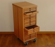 SIXTEMATIC chest of drawers single column walnut or black walnut Woodworking Garage, Woodworking For Kids, Woodworking Supplies, Woodworking Projects, Bead Storage, Craft Room Storage, Stamp Storage, Wood Furniture, Furniture Design