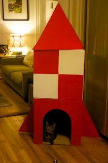 Não sabe o que fazer com as caixas de papelão da Collector? Então vai uma sugestão: casa-foguete para gatos!