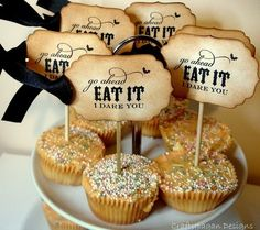 I Dare You Handmade Vintage Style Halloween Cupcake Toppers