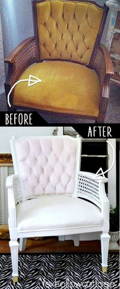 DIY Furniture Makeovers - Refurbished Furniture and Cool Painted Furniture Ideas for Thrift Store Furniture Makeover Projects | Coffee Tables, Dressers and Bedroom Decor, Kitchen | Velvet Upholstery Painted Chair Makeover | diyjoy.com/...