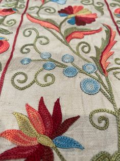 Your place to buy and sell all things handmade Handmade Bed Sheets, Chain Stitch, Cross Stitch, Table Throw, Edible Mushrooms, Tambour Embroidery, Flower Embroidery Designs, Elsa, Needlework