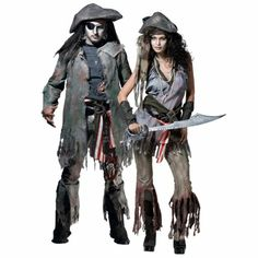 Shipwreck Sally and Barnacle Bill Ghost Pirate Couples Costumes - Halloween City Scary Couples Costumes, Creative Halloween Costumes, Couple Halloween Costumes, Diy Costumes, Adult Costumes, Costumes For Women, Halloween Decorations, Costume Ideas, Halloween City