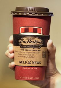 With advertisers running out of places to attract consumer attention, they've turned to the take-out coffee cup sleeve. (A pretty obvious place when you think about it, right?)