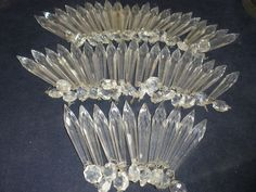 "Vintage set of 50 french  U-Drop  glass Prisms 4"" long for chandelier part"