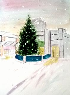 Thornaby on Tees Christmas Watercolour painting by Ruth