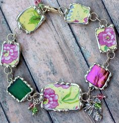 Hey, I found this really awesome Etsy listing at https://www.etsy.com/listing/186376285/broken-china-jewelry-bracelet-yellow