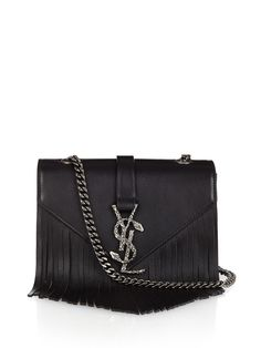 4d4ab19ae562 Monogram fringed leather cross-body bag by Saint Laurent