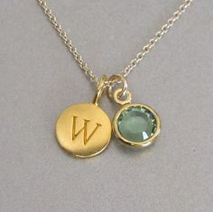Gold Initial & Birthstone Charm Necklace by tangerinejewelryshop, $46.00