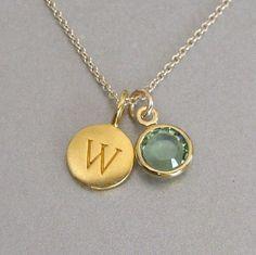 Gold Initial & Birthstone Charm Necklace - Initial Necklace - Monogram Jewelry - Personalized Jewelry