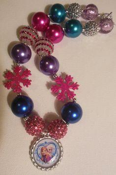 Anna & Elsa Frozen chunky bead necklace.
