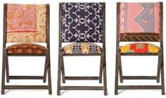These Anthropologie pillowed folding chairs could oh-so-easily become a DIY project for creative side chairs. LOVE!