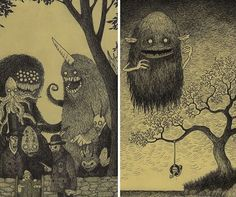 Monster Drawings On Sticky Notes (Creative Art) Art And Illustration, Character Illustration, Vampire Illustration, Arte Horror, Horror Art, Sticky Monster, Creepy Monster, Monster Drawing, Cool Monsters