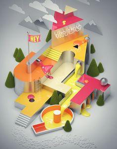 Creative Illustration, Behance, and Type image ideas & inspiration on Designspiration Crea Design, Design 3d, Type Design, Typography Inspiration, Design Inspiration, Design Ideas, 3d Artwork, Art Graphique, 3d Logo