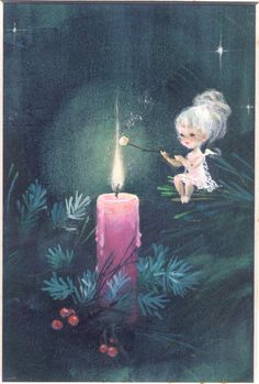 CHRISTMAS ANGEL Roasting Marshmellow on candle flame from Original Painting of Christmas card