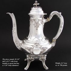 """Gorgeous Antique French Sterling Silver 10"""" Coffee or Tea Pot,  Victor BOIVIN, silversmith (Paris) c. 1890s"""
