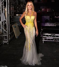 Amanda Holden EXCLUSIVE: The BGT judge oozes glamour in plunging canary yellow gown Amanda Holden Style, Amanda Holden Bgt, Pink Silk Dress, Yellow Gown, Britain's Got Talent, Chic Outfits, Fashion Outfits, Holiday Dresses, Ball Gowns