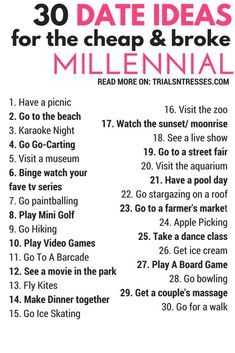 30 Date Ideas For The Cheap & Broke Millennial top date ideas/ date ideas for teens/unusual date ideas/inexpensive date ideas/free date/at home date ideas/cute date/cheap date ideas/cheap dates/ date ideas for couples/fun date ideas/date ideas/best date Dating Humor, Dating Quotes, Dating Tips, Dating Funny, Cute Relationships, Healthy Relationships, Relationship Advice, Marriage Tips, Marriage Romance