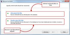 BLOB recovery - Recover online or deleted BLOBs as data files, ideal for SharePoint recoveries