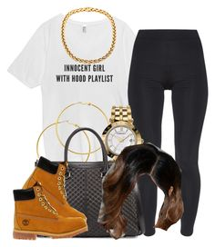 """✨"" by trillest-queen ❤ liked on Polyvore featuring TWISTY PARALLEL UNIVERSE, Melissa Odabash, Versace, Charles Jourdan, Timberland, women's clothing, women's fashion, women, female and woman"