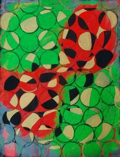 Rude 3, by Marie Kazalia, print on metal $54. fluorescent paint red green geometric circle pattern circular Paintings