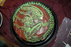 Image detail for -Alien_Cake_by_redfeathersibis. Alien Cake, Horror Party, Xenomorph, Cake Designs, Birthday Parties, Birthday Ideas, Cakes, Image, Cake Ideas