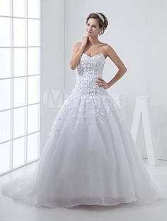 White Net Sweetheart Strapless Sash Wedding Dress - Milanoo.com