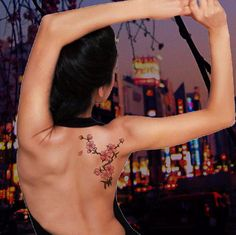 2 Japanese Cherry Blossom Tattoos - Temporary Fake Tattoo - Sakura Cool Flower Tree Japan Large Pink Color Tattoo For a Week