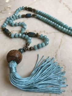 Handforged soldered Tassel top long necklace Butterfly Handknotted Semiprecious Gemstones Pinks & Grays/Artisan/Boho Cottage-chic by Y-Knot? Beaded Tassel Necklace, Tassel Jewelry, Diy Necklace, Leather Necklace, Bohemian Jewelry, Gemstone Necklace, Beaded Jewelry, Jewelery, Jewelry Necklaces