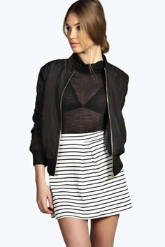 Karen Striped Box Pleat Skater Skirt at boohoo.com