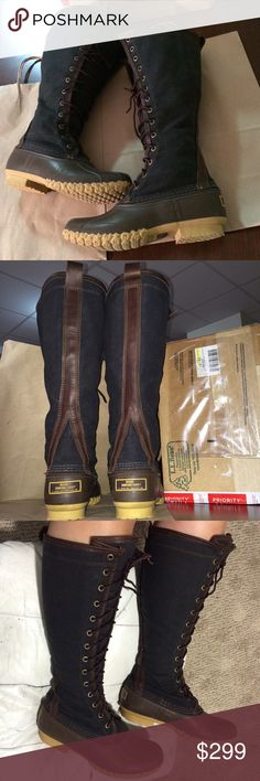 ❤️RARE LL BEAN BOOTS L.L. Womens Duck tall 7 7.5 8 ‼️Very Rare & hard to Find‼️  ❤️RARE LIMITED EDITION Tall Bean Boots ❤️  WOMENS Size 7. Fits 7-8. Tall height,knee high.leather,canvas.Fits All Calve sizes!    Authentic.  Super Cute! ❤️Tons of Compliments!   ❤️Excellent Condition. When wearing they look almost like NEW!   Shipped quickly. Women's.Fits 7,7.5,8 depending on sock thinness/thickness & personal preference of fit.  Worn only 2xs. Normal wear,marks,scuffs,spots, small spot on…