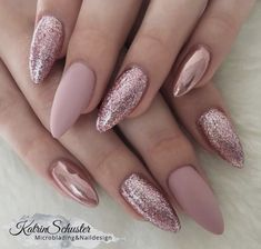 10 elegant rose gold nail designs you should try . - 10 elegant rose gold nail designs you should try must - Rose Nail Art, Rose Gold Nails, Pink Glitter Nails, Matte Pink Nails, Pink Chrome Nails, Powder Glitter Nails, Rose Gold Makeup, Pink Nail Art, Glitter Hair