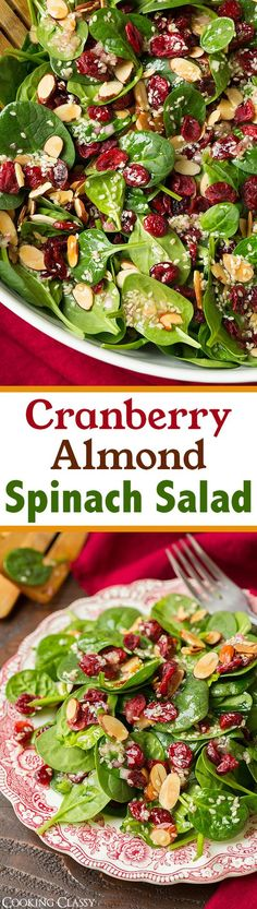 Cranberry Almond Spinach Salad with Sesame Seed Dressing - A delicious, simple…