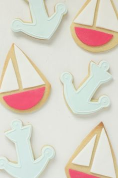 Boat and anchor cookies <3 cute for nautical party or homecoming