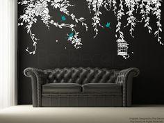 Pop design decorazioni stile natura lascia decalcomania con luccello in gabbia e gli uccelli che volano. È una super decal per tua decorazione per