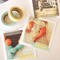 Instagram Photo prints with washi tape. Will probably print Elliott's 1-12 month pictures for his party.