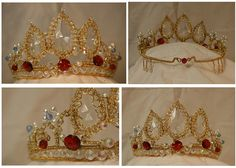 Handmade Rapunzel crown I found on eBay a while ago. Grabbed the pictures. Seems easy enough to make, except not sure where they got the large clear gems.