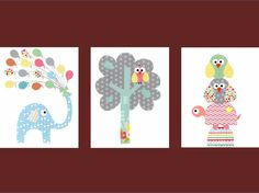 Elephant Balloon Tree Turtle and Owl Nursery Artwork // Baby Room Decoration // Kids Room Decoration // Gifts Under 50 on Etsy, $42.00