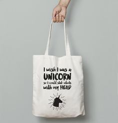 Great gift for unicorn. Fabric Totes – If I Was a Unicorn Funny Tote Bag – a unique product by fuzzyandbirch via en.DaWanda.com
