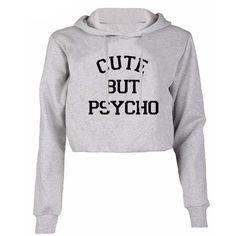 Cute but psycho cropped hoodie found on Polyvore featuring tops, hoodies, hoodies pullover, hoodie pullover, short sleeve hoodie, hooded crop top and sweatshirt hoodies