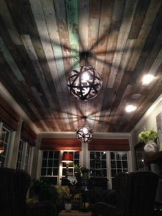 Salvaged wood ceiling - Southern Accents Architectural Antiques - www.sa1969.com--porch ceiling!