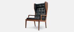 James Harrison Design / Walnut and black leather wingback