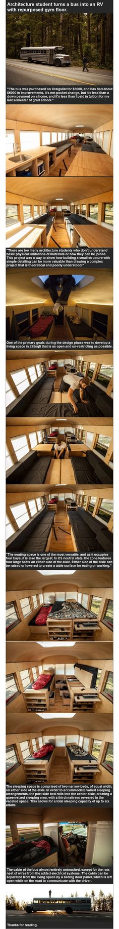 Brilliant #smallhouse living: Arch Student creates a home in a bus  w repurposed materials @Talv58 (u might like this)